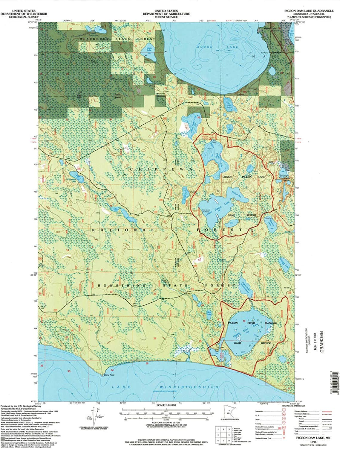 Pigeon Dam Lake MN topo map, 1 24000 Scale, 7.5 X 7.5 Minute, Historical, 1996, Updated 1998, 27.31 x 21.22 in