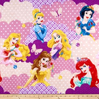 Springs Creative Products Disney Princess Clouds Fleece Yellow Fabric by The Yard
