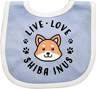 Inktastic Live Love Shiba Inus Baby Bib Blue/White