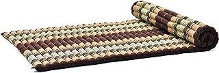Leewadee Roll-Up Thai Mattress Guest Bed Yoga Floor Mat Thai Massage Pad XL Twinsize Eco-Friendly Organic and Natural, 79x41x2 inches, Kapok, Brown