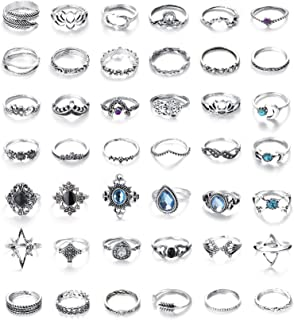 Finrezio 42 Pcs Vintage Knuckle Rings Stackable Midi Finger Ring Set for Women Girls Bohemian Retro Vintage Jewelry