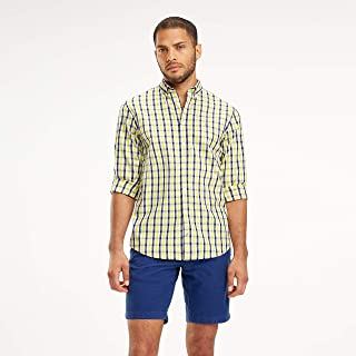 TOMMY HILFIGER Men's Heather Gingham Shirt, Yellow/Cloud/Multi