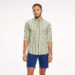 TOMMY HILFIGER Men's Heather Gingham Shirt, Yellow/Cloud/Multi