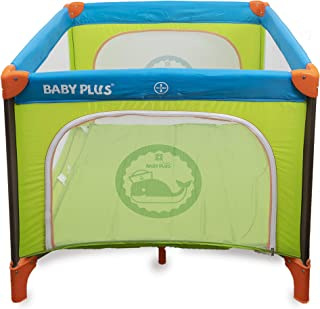 BABY PLUS BP8058 Portable Bed and Playard, Blue/Green - Pack of 1, BP8058-BLUE/GRN