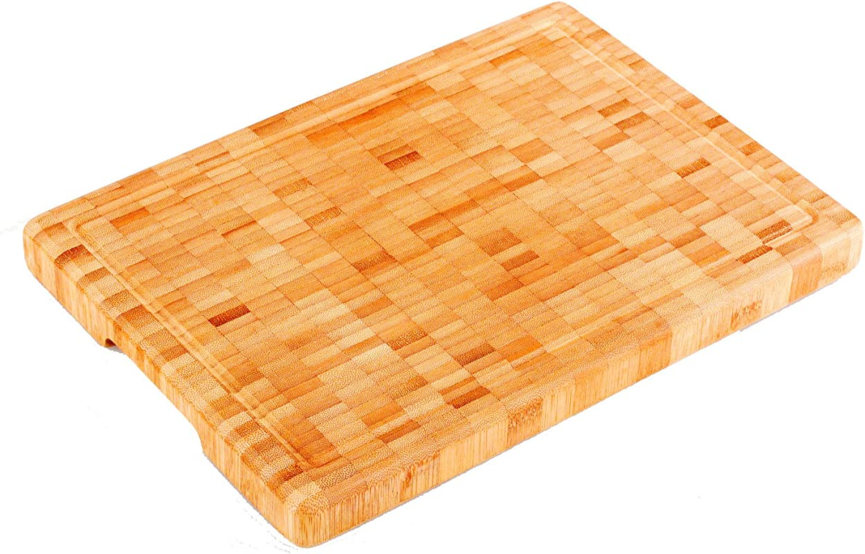 Premium Large And Thick 14 X 10 X 1 25 Organic Bamboo Butcher Block Chopping Board Cutting Board Professional Grade
