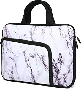 11 11.6 12.1 12.5 inch Laptop Carrying Bag Chromebook Case Notebook Ultrabook Bag Tablet Cover Neoprene Sleeve with Extra Pockets for Apple MacBook Air Samsung Google Acer HP DELL Asus (White Marble)