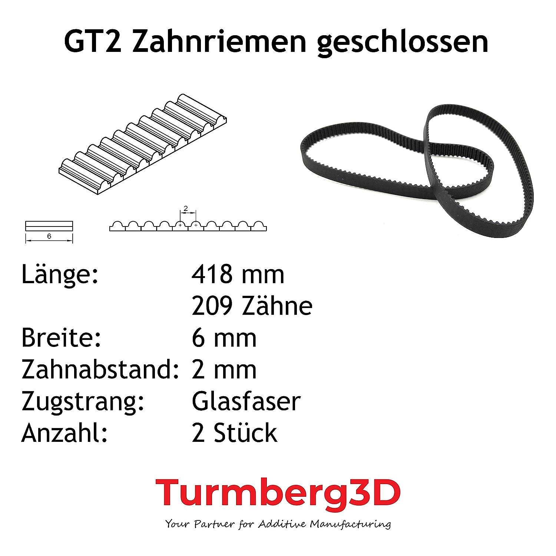 Correa de distribuci/ón GT2 cerrada 6 mm ancho por 2 pieza 96mm