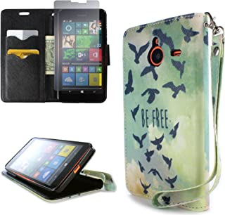 CoverON for Microsoft Lumia 640 XL Wallet Case [Carryall Series] Flip Credit Card Phone Cover Design Pouch - Free Bird - with Screen Protector and Wristlet Strap