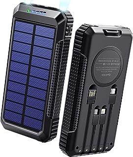 40800mAh & Qiワイヤレス充電 & PD18W対応 ソーラーモバイルバッテリー 大容量 ソーラーチャージャー 急速充電 SCP22.5W対応 PD18W入出力兼用Type-Cポート ソーラー充電器 USB-A+Micro USB+Ty...