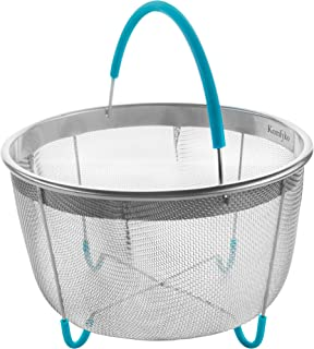 Komfyko Stainless Steel Steamer Basket for Instant Pot Accessories 6 qt - Compatible Instant Pot Steamer Basket 6 Quart - IP Steam Insert with Silicone Handle and Feet for Instapot Pressure Cooker