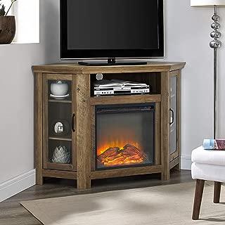 WE Furniture Fireplace Stand, Rustic Oak