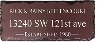 """Sassy Squirrel Customizable Burgundy Slate Home Address Plaque (12""""x6"""" or 18"""