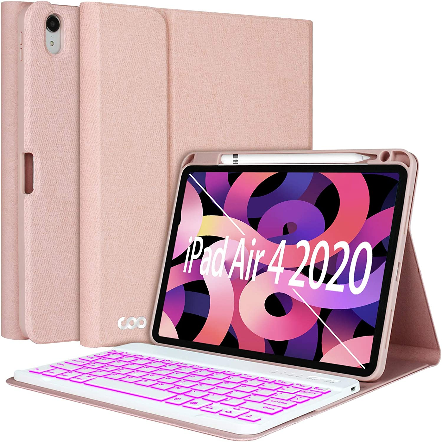 """iPad Air 4th Generation Keyboard Case 10.9"""" 2020, COO Keyboard Case for iPad Air 4th Gen/iPad Pro 11"""" 2018-7 Color Backlit Detachable Wireless Keyboard Protective Cover, Built-in Pencil Holder"""