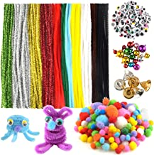 FEPITO 790Pcs Pipe Cleaners Set Including 120Pcs Pipe Cleaners 410Pcs Pom Poms, 200Pcs Wiggle Googly Eyes and 60Pcs Colored Craft Jingle Bells for Christmas Tree Party Decoration DIY Craft