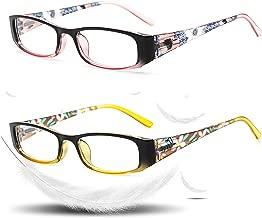 VVDQELLA PC Reading Glasses 2.00 Power Blue Light Blocking 2 Pack Design for Women Floral Print Colored Readers Eyeglasses Anti Glare Fashion