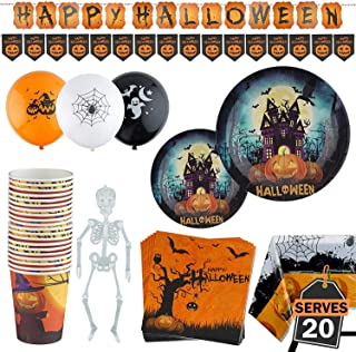 98 Piece Halloween Party Set Including Banner, Plates, Cups, Napkins, Tablecloth, Balloons and Garland, Serves 20