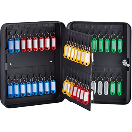 AdirOffice Key Cabinet with Key Lock 60 Key Hooks /& Tags Black Durable /& Heavy Duty Secured Storage for Homes Hotels Schools /& Commercial Use