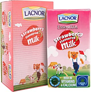 Lacnor Essentials Strawberry Flavoured Milk, 100% Natural, Rich in Vitamin and Calcium, 125 ML Pack of 24