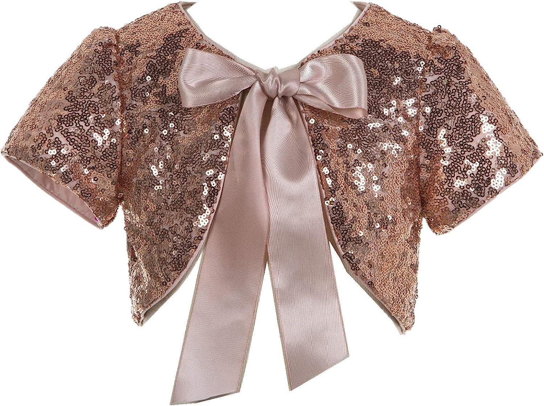 ekidsbridal Sequins Mesh Flower Daily bargain sale Girl Popular product U Cover Dress Jacket Bolero