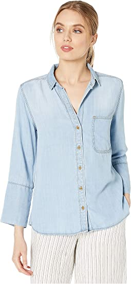 Shirt Tail Button Down Shirt in Tencera