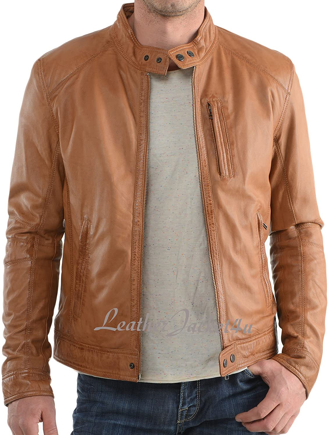 Men's Stylish Lambskin Genuine Leather Motorcycle Biker Leather Jacket 39