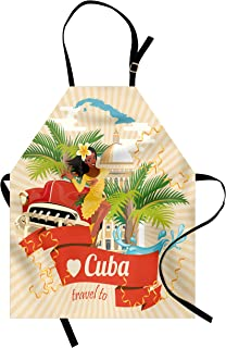 Lunarable Havana Apron, Cuban Culture and Attractions Concept Smiling Local Lady on Classic Car Among Palms, Unisex Kitchen Bib with Adjustable Neck for Cooking Gardening, Adult Size, Peach