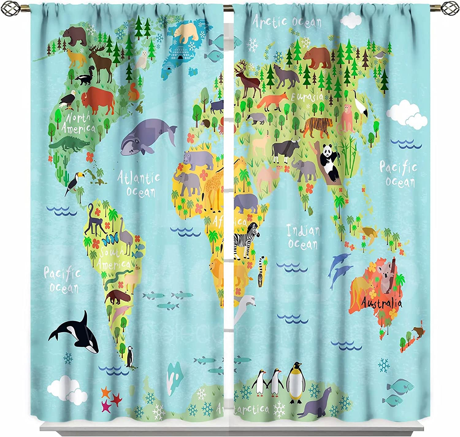 GY Animal Map of The World Virginia Beach Mall Forests discount for Cartoon Mountains Printed