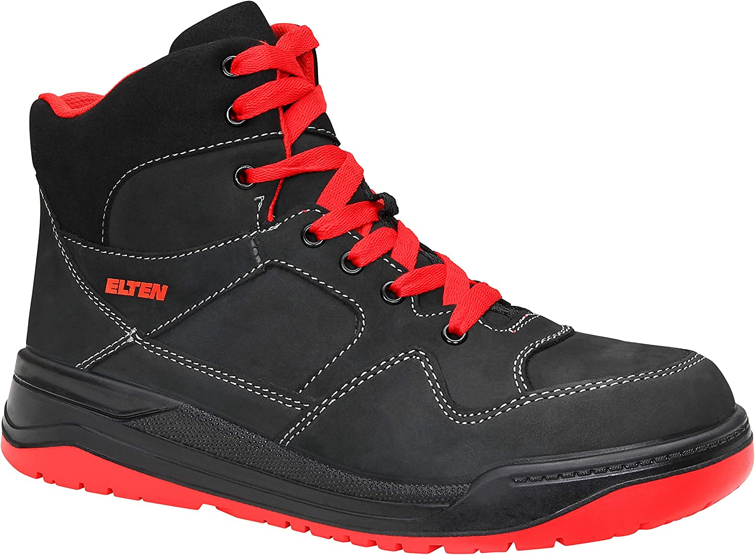 Elten Maverick Cool Basketball style  Nubuck Leather Safety Trainer Boot With Steel Toe Cap, Black Red Mid Textile Lining Size 38,48