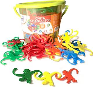 Bucket of Monkeys Game - Hours of Fun for Toddlers and preschoolers. Color Sorting, Linking, Motor Skills Developing and Counting Toy for Toddlers and Kids. 100 Colorful Pieces Bucket.