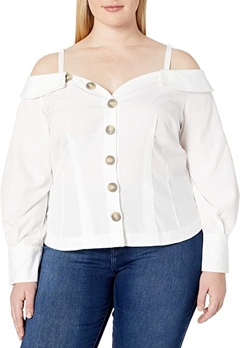 City Chic Women's Apparel Women's Plus Size Bardot Shirt Style top with Button Down Detail