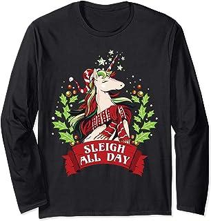 Traîneau toute la journée Noël mignon Santa Licorne Manche Longue