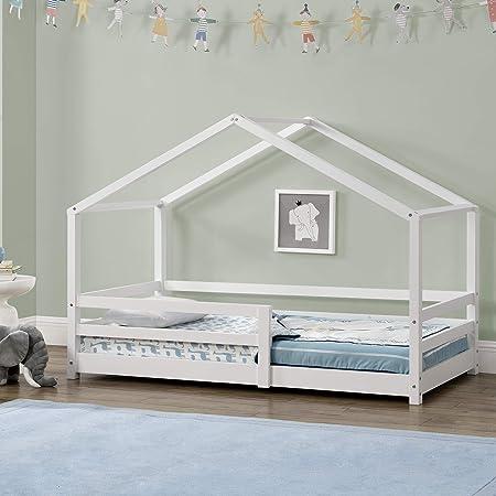 [en.casa] Lit d'enfant Maison avec Barreaux de Sécurité Pin Naturel 80 x 160 cm Blanc Mat Laqué