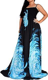 Women`s Plus Size Maxi Dress Floral Print Long Floor Length Sleeveless Casual Beach Party Dresses XL 1X 2X 3X 4X
