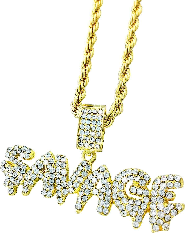 Exo Jewel CZ Diamond Bubble Dripping Word Savage Gold Pendant with 24