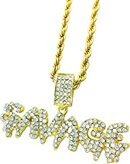 Exo Jewel Iced Out Gold Diamond Savage Bubble Word Pendant with 24
