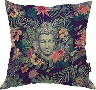 Moslion Buddha Pillow Flowers Peacock Feathers Buddha Decorative Throw Pillow Cover Satin Square Cushion Cover Standard Pillow Cases for Mens Women Girls Boys Kid Sofa Bedroom Livingroom 18