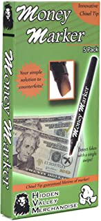 Money Marker (5 Counterfeit Pens) - Counterfeit Bill Detector Pen with Upgraded Chisel Tip - Detect Fake Counterfit Bills,...