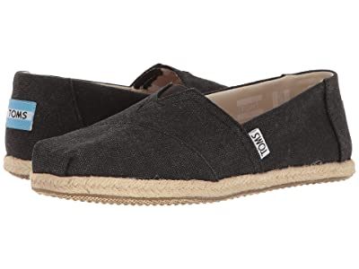 TOMS Alpargata on Rope (Black Washed Canvas Rope Sole) Women