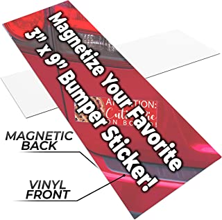Fun, Make-Your-Own 3x9in Magnetic Sheets 1pk. Blank White Magnet Strips for Strong, Flexible Bumper Sticker Decals, Holiday Photos or Art. Decorate Personalized DIY Projects for Fridge, Car or Office