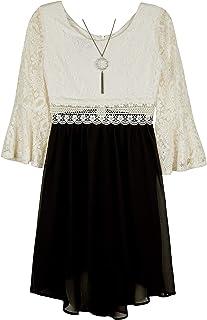 Amy Byer Girls' Lantern Sleeve Illusion Waist Dress