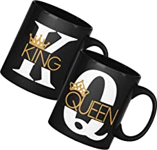 Pugnaa Valentine Couple Gifts for Wedding and Marriage Anniversary- 2 Coffee Mug - 330 ml Each Tea Cup - Ceramic - Black K...