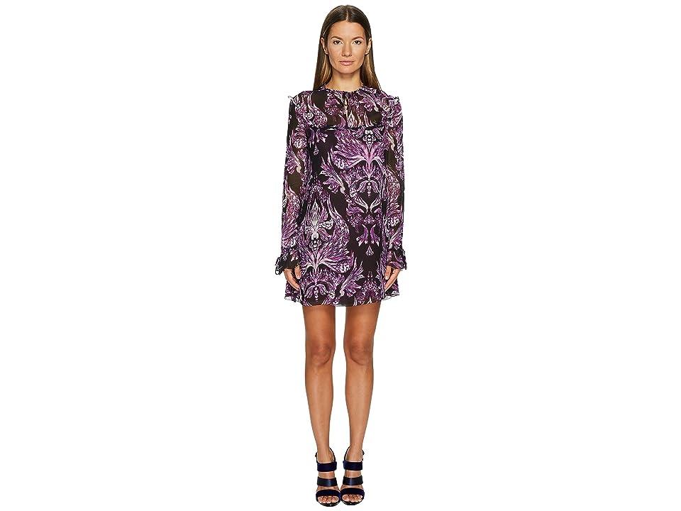 Just Cavalli Baroque Printed Long Sleeve Dress (Purple) Women