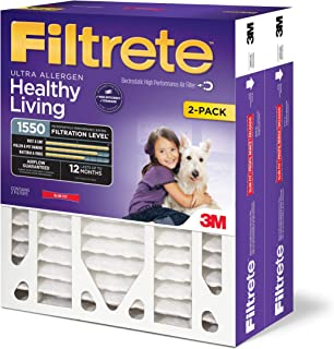 Filtrete 16x25x4, AC Furnace Air Filter, MPR 1550 DP, Healthy Living Ultra Allergen Deep Pleat, 2-Pack (Renewed)
