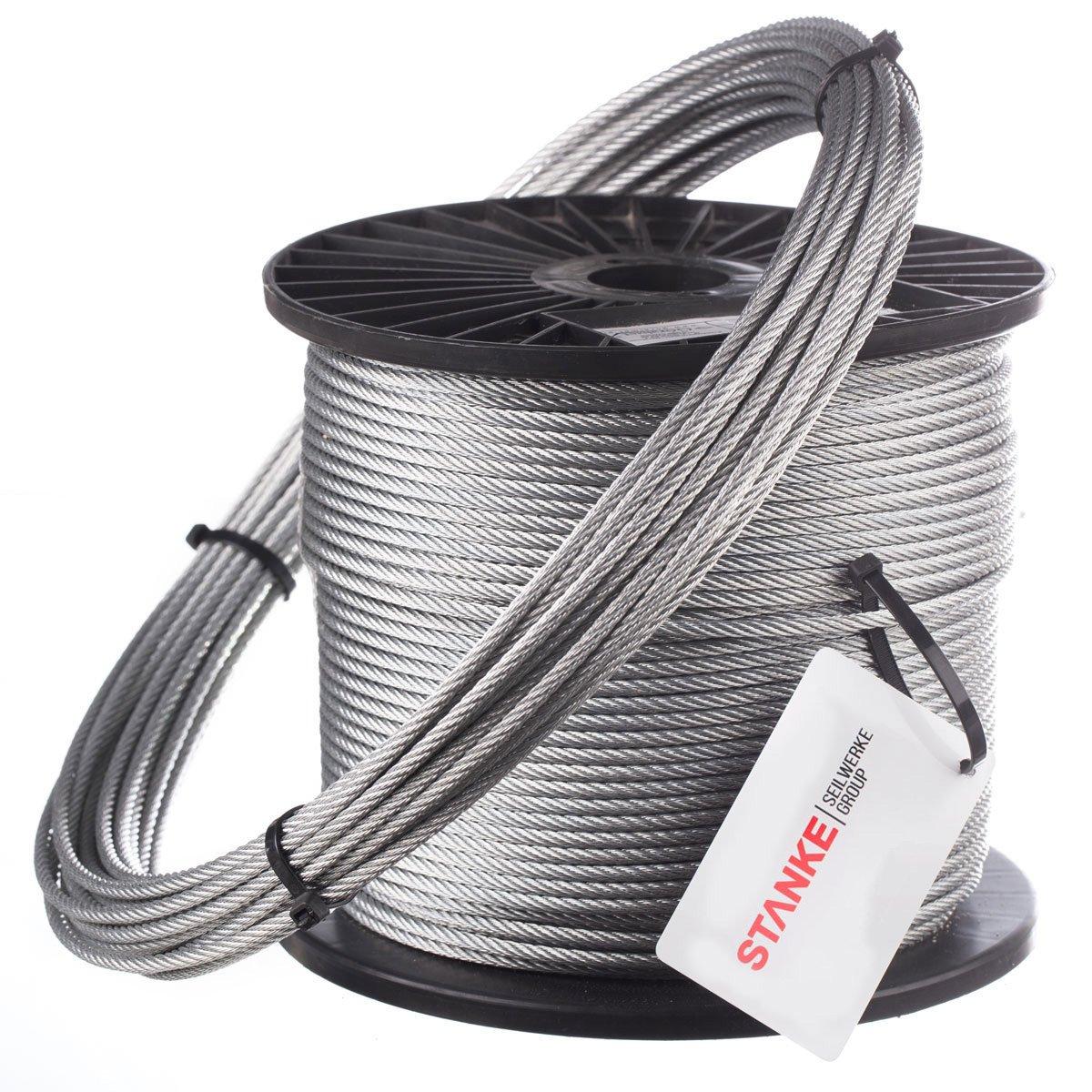 Seilwerk STANKE 25m 8mm Drahtseil 6x19 verzinkt Stahlseil Forstseil DIN Windenseil Seil Draht Stahl