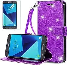 MOLAONE Samsung Galaxy J7 2017 Case/J7 Prime/J7 Perx/J7 V J7V/Halo/J7 Sky Pro Bling Glitter Liquid Diamond Cover for Girls/Women [Tempered Glass Screen Protector],Pink/Purple
