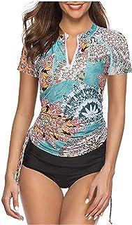 Caracilia Women's UV Sun Protection Short Sleeve Rash Guard Wetsuit Swimsuit Top F48-L ZWY02