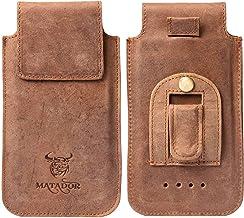 MATADOR Gürteltasche Leder kompatibel mit Samsung S9 Plus / S10 Plus / S20 Plus Leder Case Handy Hülle Tasche Tabacco Braun Gürtel-Clip/Gürtel-Schlaufe Slim Design