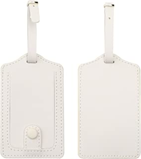 Kevancho Leather Smart Luggage Tags for Men Women, Suitcase Labels Baggage Tote Bag Tag ID Tags with Full Back Privacy Cover for Carnival Cruise Ships, Travel Accessories Tags Set of 2 PCS (White)