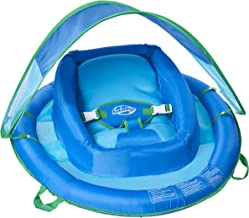 SwimWays Infant Baby Spring Float with Adjustable Sun Canopy – Blue