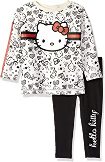 Hello Kitty Girls' Toddler 2 Piece Legging Set, Cream/Red, 2T